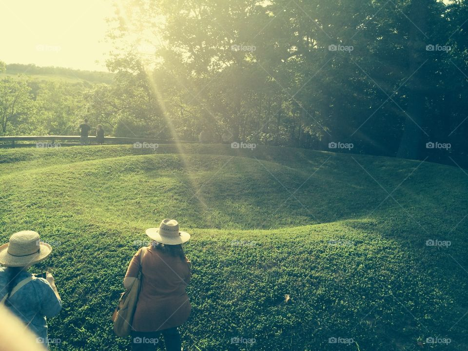Serpent Mound tail in Peebles Ohio at sunset on the spring equinox