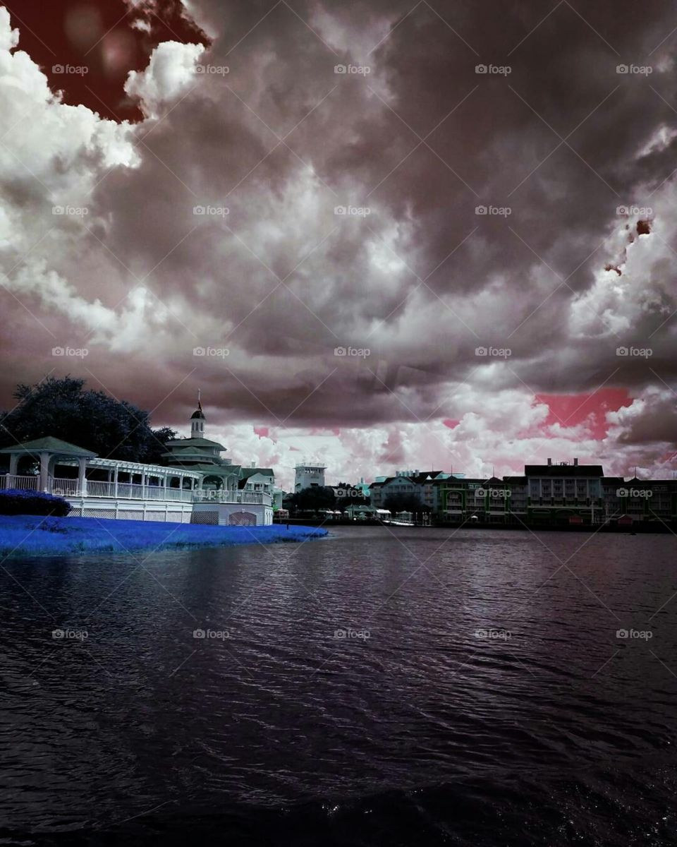 Lush clouds by the disney boardwalk in Orlando Florida