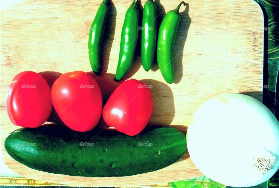 Tomates, Cebollas, Chiles