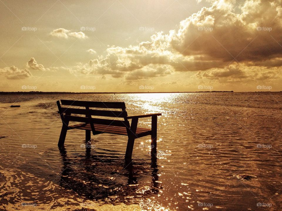 Empty bench in the water