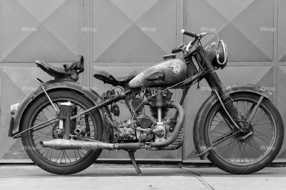 NSU vintage motorcycle OSL 251 from year 1951. Old, rusty and still in good shape