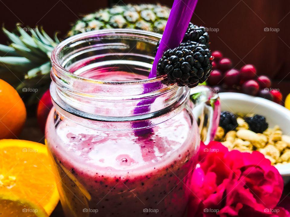 Pink fruit smoothie