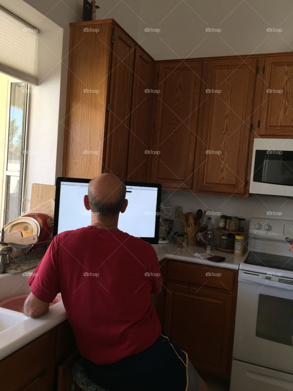 Using computer in the kitchen