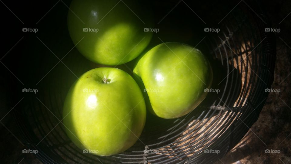 High angle view of green apples