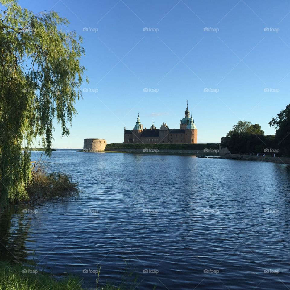 Reflection Kalmar castle in water at Sweden