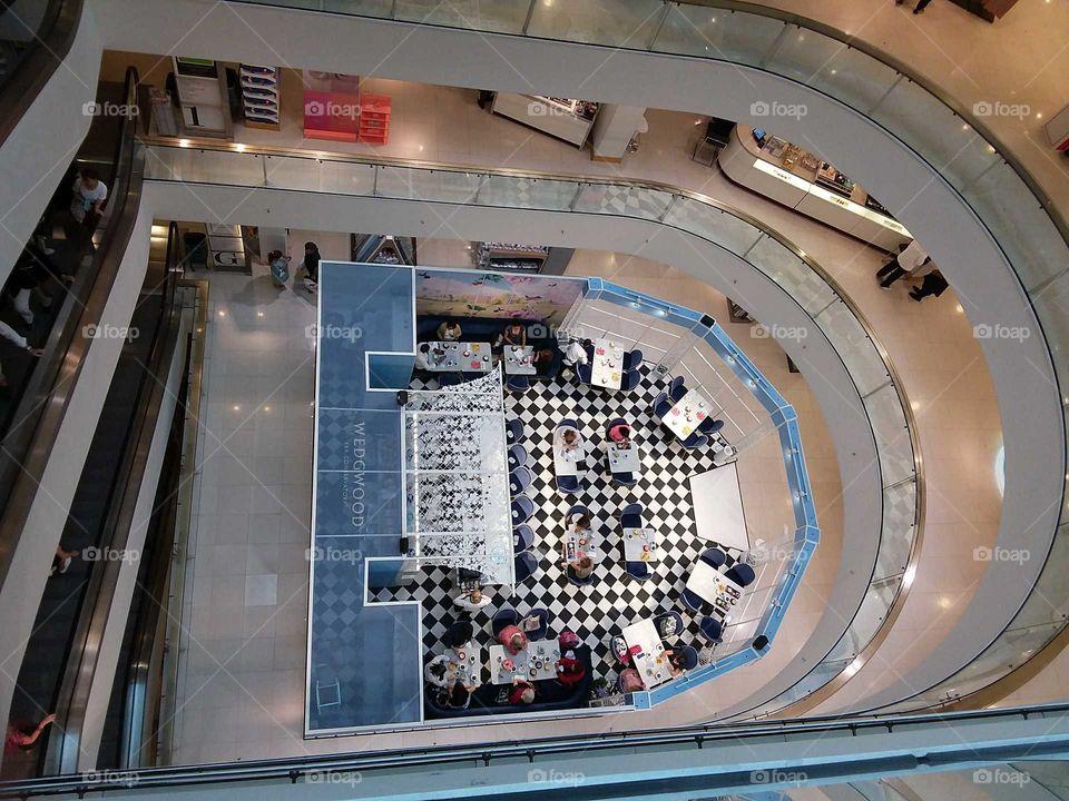 Peter Jones atrium Wedgwood aerial view of teatime at the store Sloane square Chelsea Kings road London