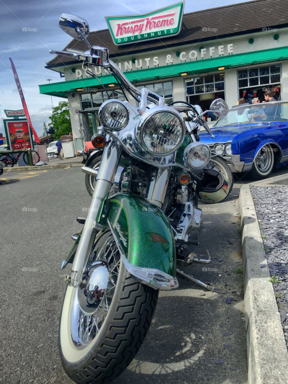 American motorcycle outside American diner