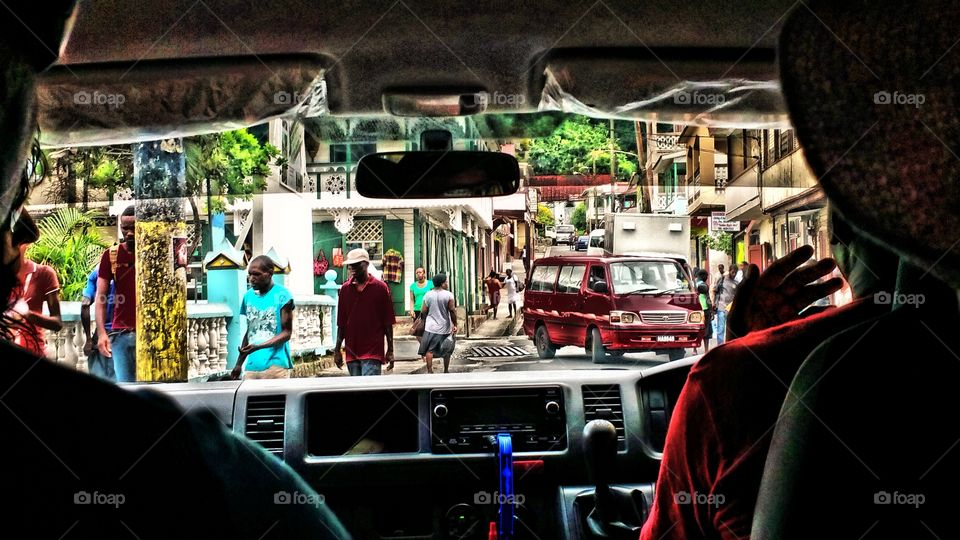 view from inside tour vehicle, St Lucia