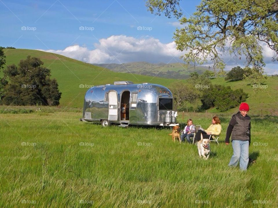 Airstream in a country meadow