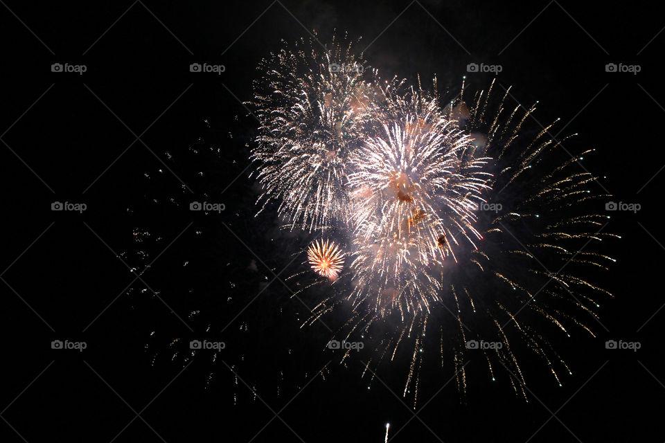 Fireworks, holiday, lights, flicker, splash, celebration, joy, sky, black sky, bright lights against the black sky, night, summer, night sky, Bright lights of the salute against the black sky