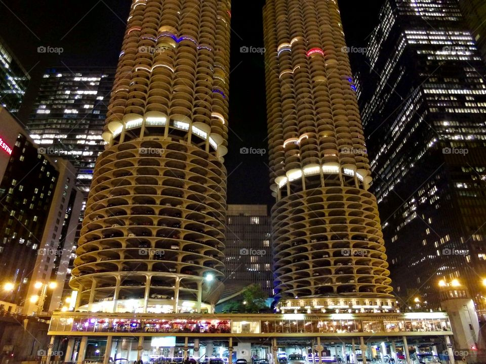Corncobs. Taken from the river walk.  Marina City aka the corncobs of Chicago.