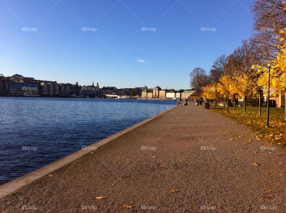 Crisp autumn day in the centre of Stockholm Sweden.