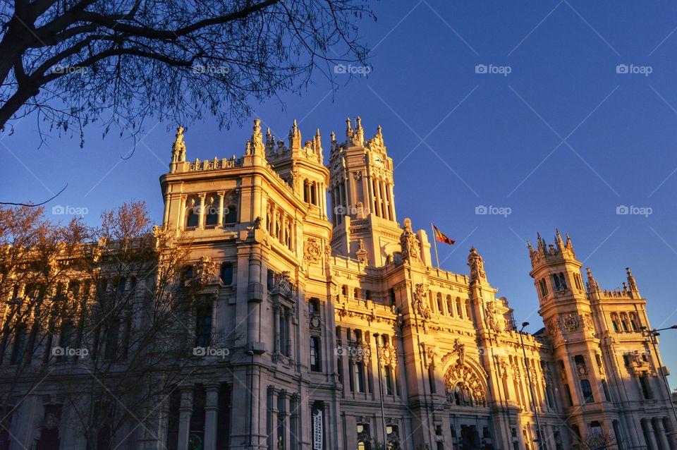 View of Palacio de Cibeles. Palacio de Cibeles, city hall of Madrid