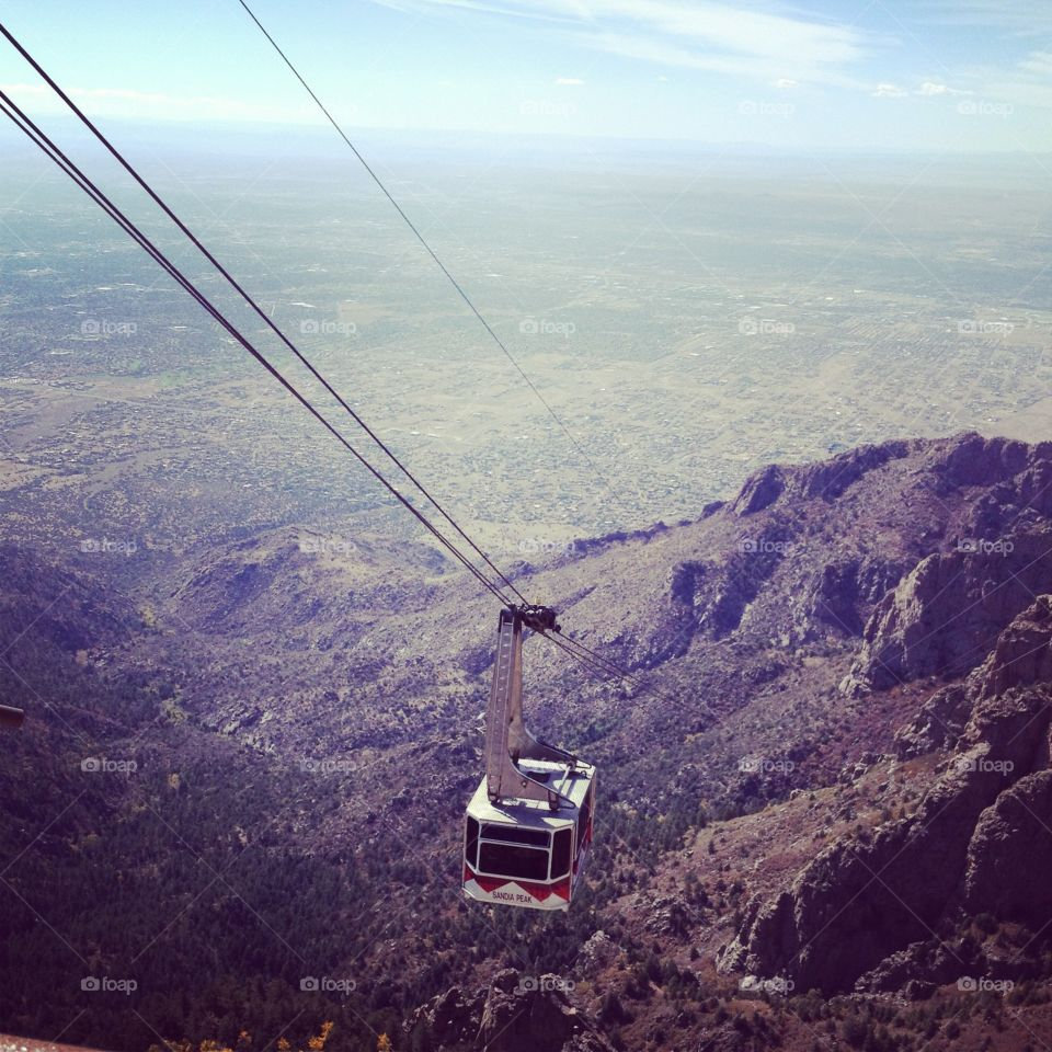 Tram ride. Tram on the way up the Sandia mountains