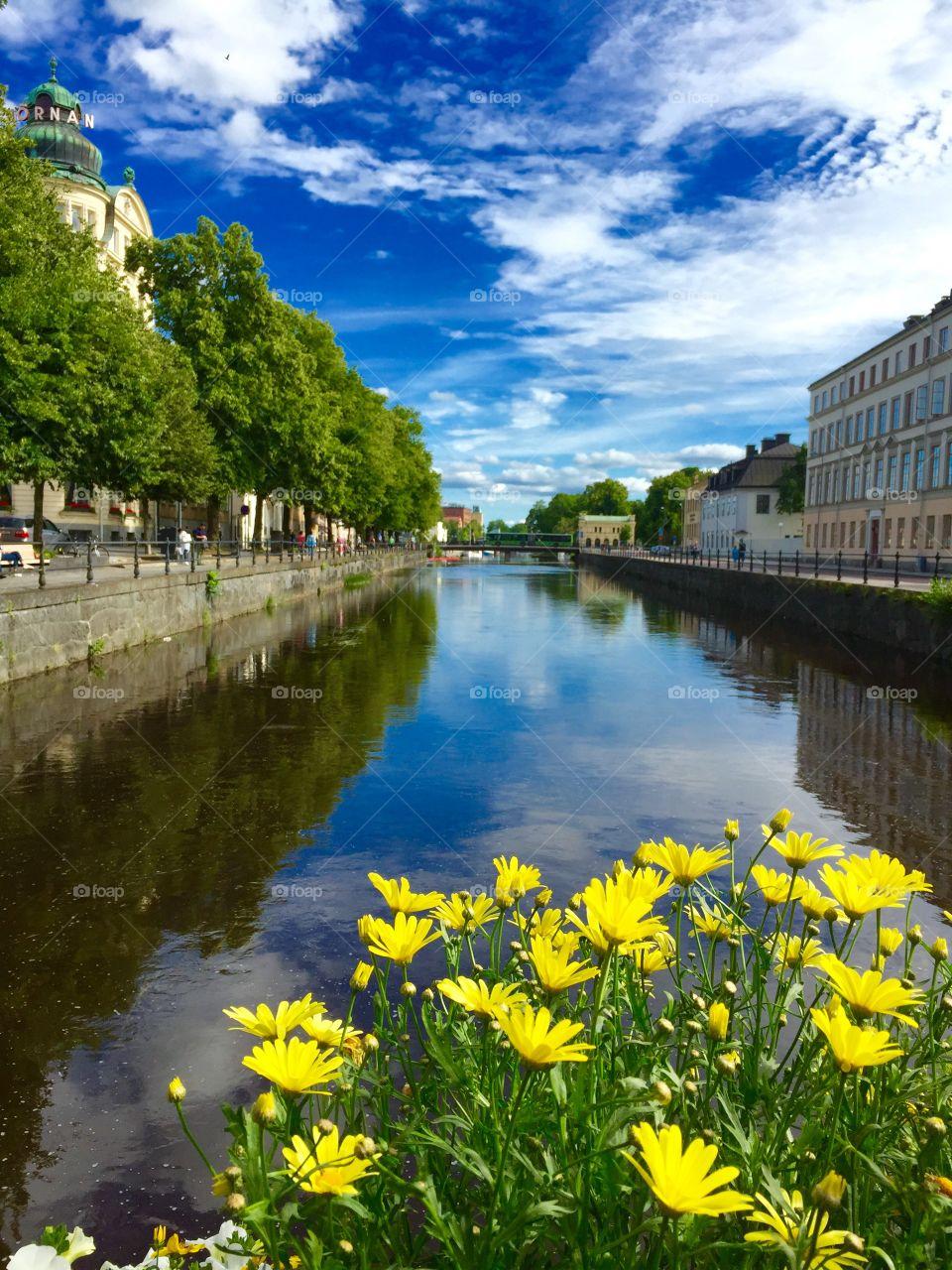 Summer in Uppsala. On the water through Uppsala