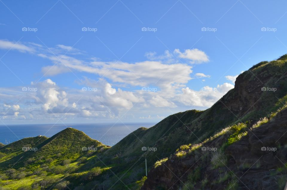 Diamond Head Hawaii, A View From the top of the mountain beautiful ocean and Mountain View.