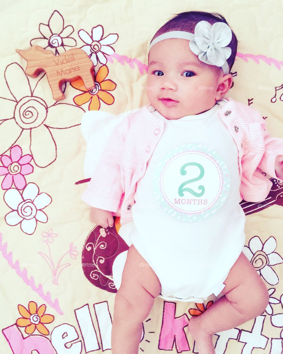 I'm two months!. Videl-Marie is two months.