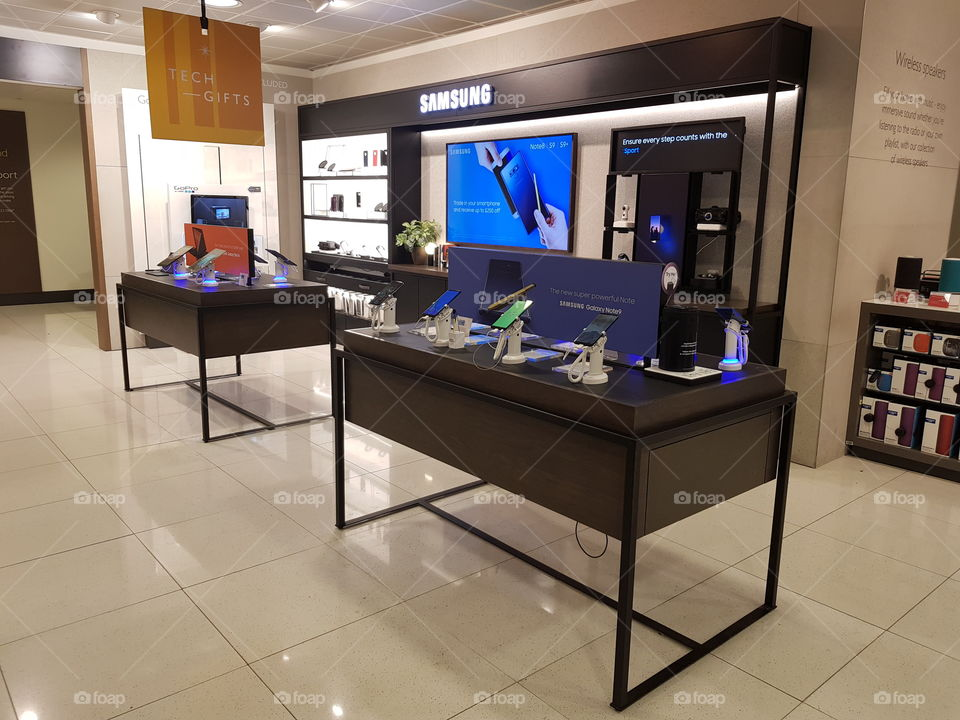 Samsung mobile display at Peter Jones Sloane square Chelsea King's road London
