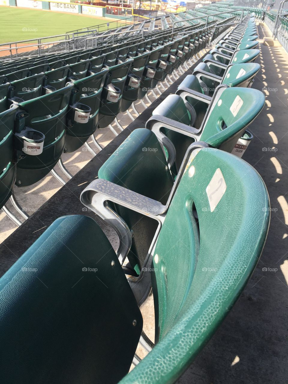 Stadium seats at a baseball park in Texas.