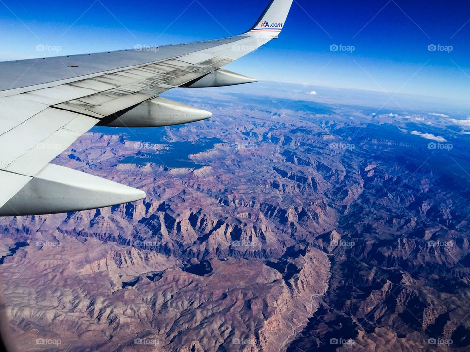Grand Canyon by air. Morning flight over the Grand Canyon