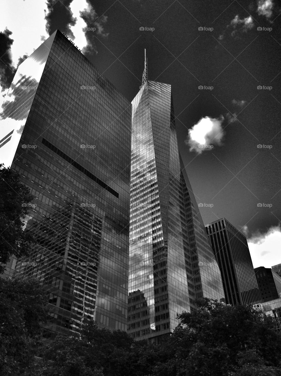 Low angle view of World Trade Centre, Manhattan