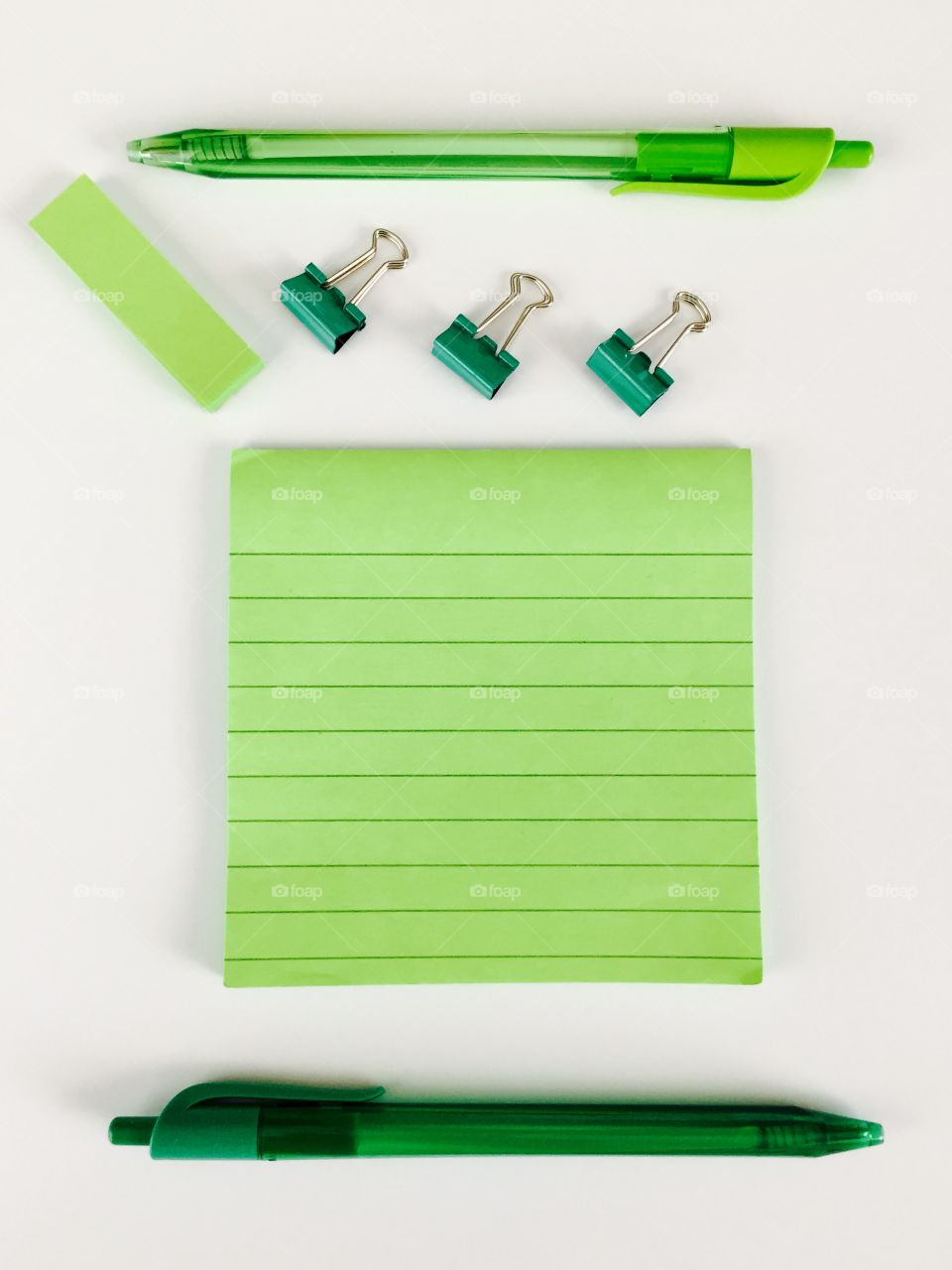Green Color Story - office supplies