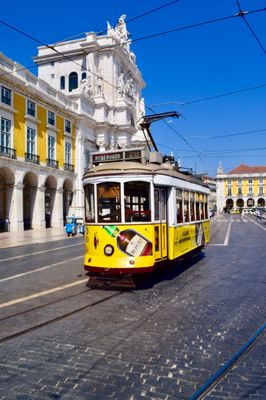 The yellow tram in Portugal