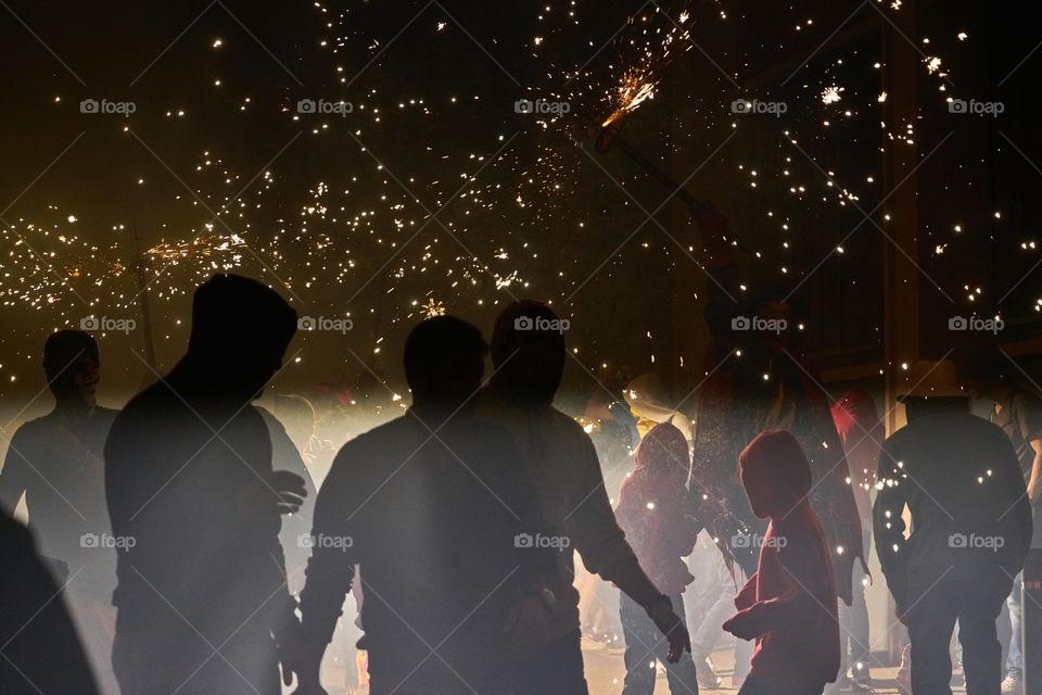 Light. Correfoc de les Festes de Gracia. Barcelona.