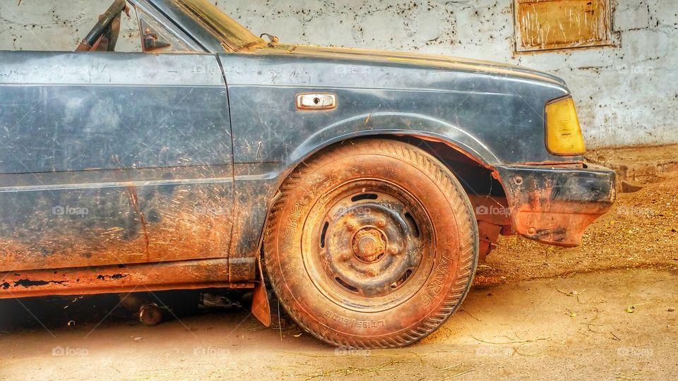 Car Tyre Door Vintage Old