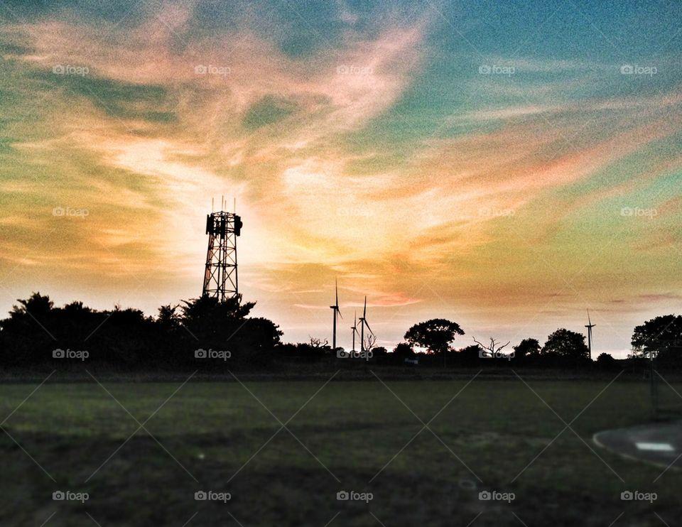 field summer sunset united kingdom by mrgrambo