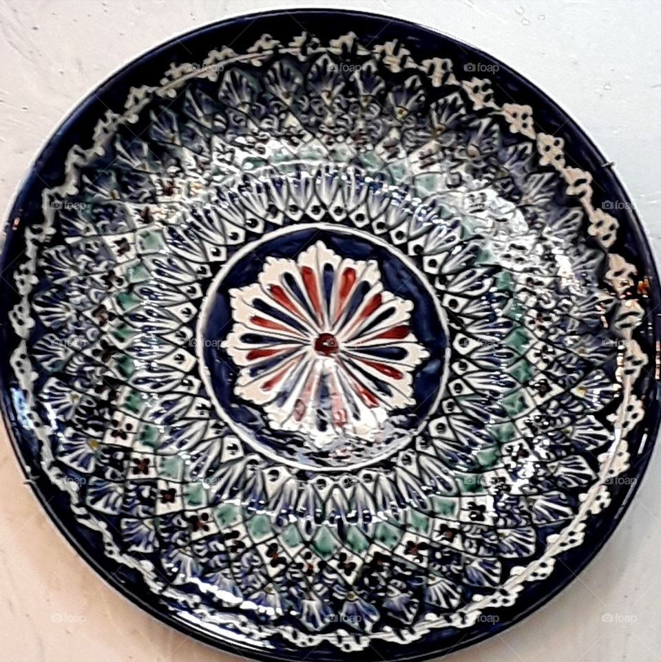 Russian traditional plate on the wall