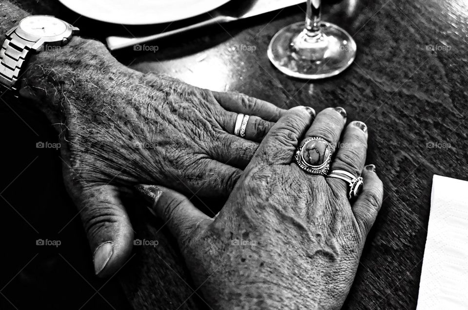 Hands of an old couple