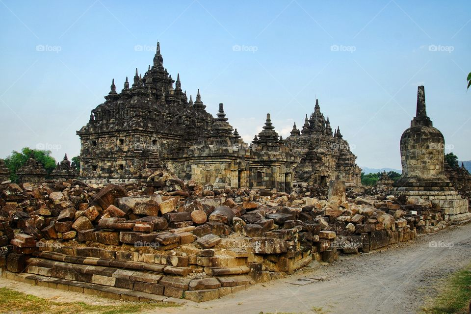 the ruins of stone building inside the plaosan temple, one of some archaelogical site in Jogjakarta, Indonesia