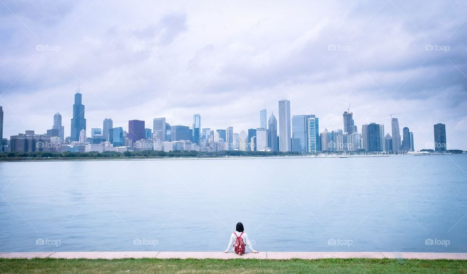 Chicago skyline and me