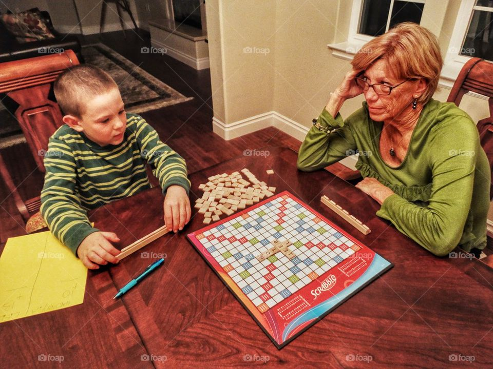 Family game night with Scrabble