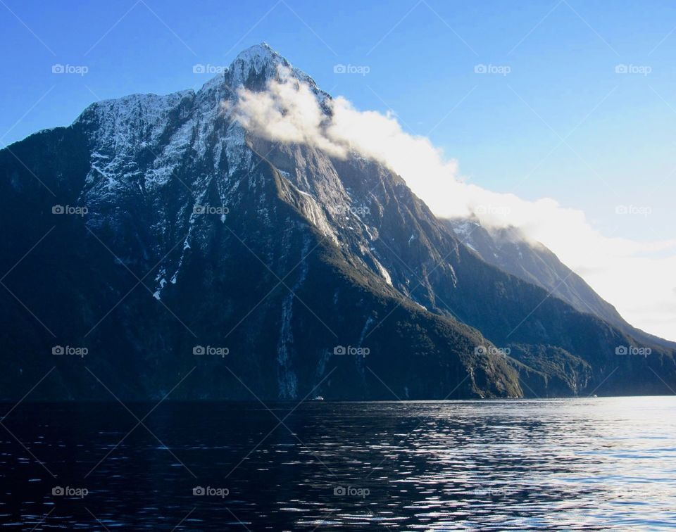 A beautiful mountain above New Zealand's Milford Sound.