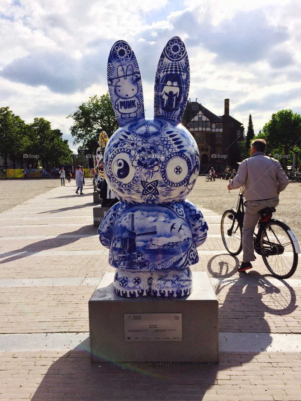Miffy art contest . This is a Miffy art contest in Amsterdam with the design of delft.