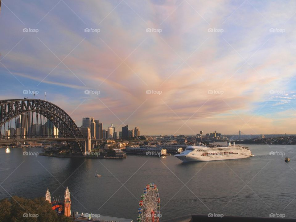 Cruise ship and harbor bridge at sydney, australia