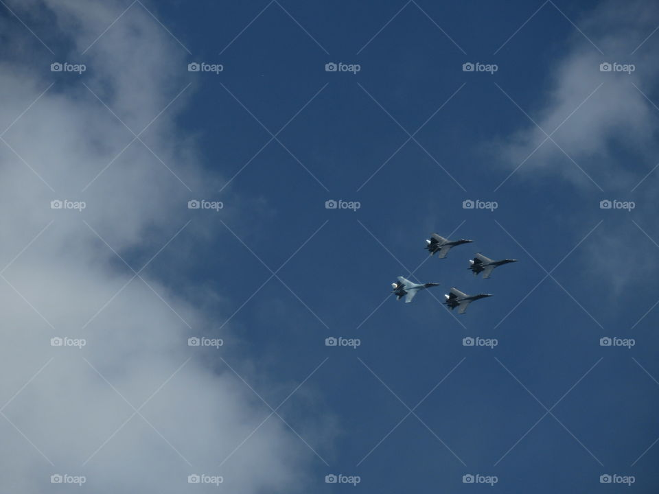 Airshow fighters in the sky in May