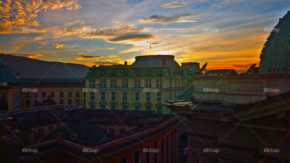 Buildings and sunset