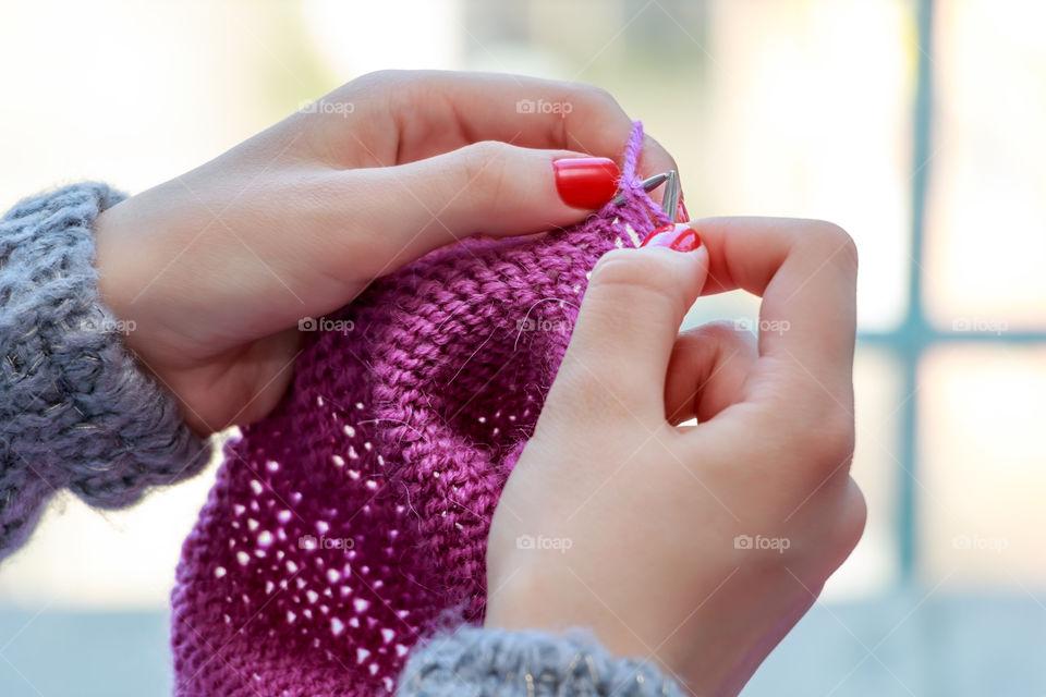 Women's hand knitting sweater