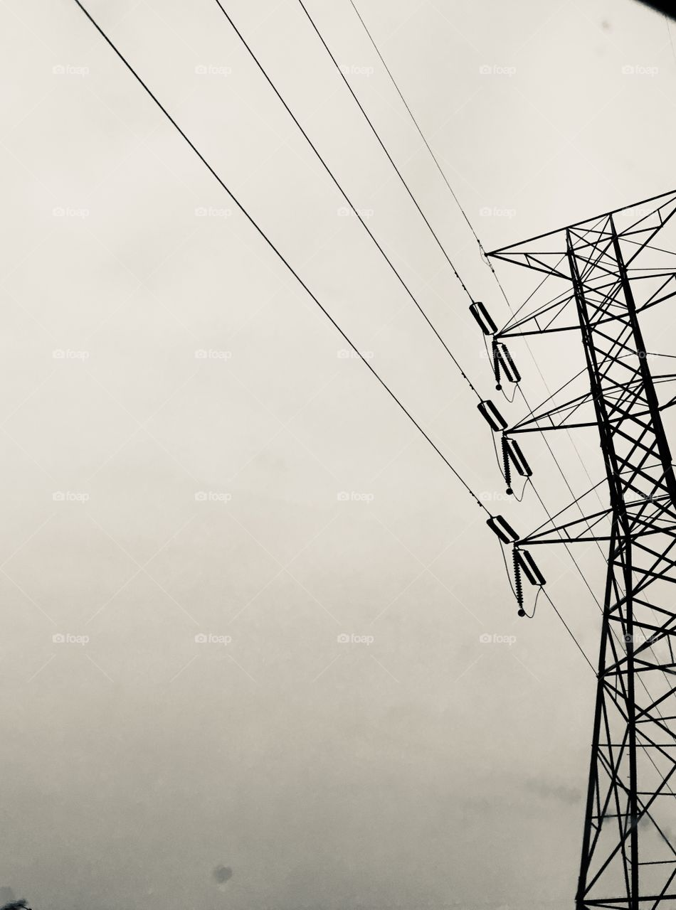 Iron giants and power lines in black and white