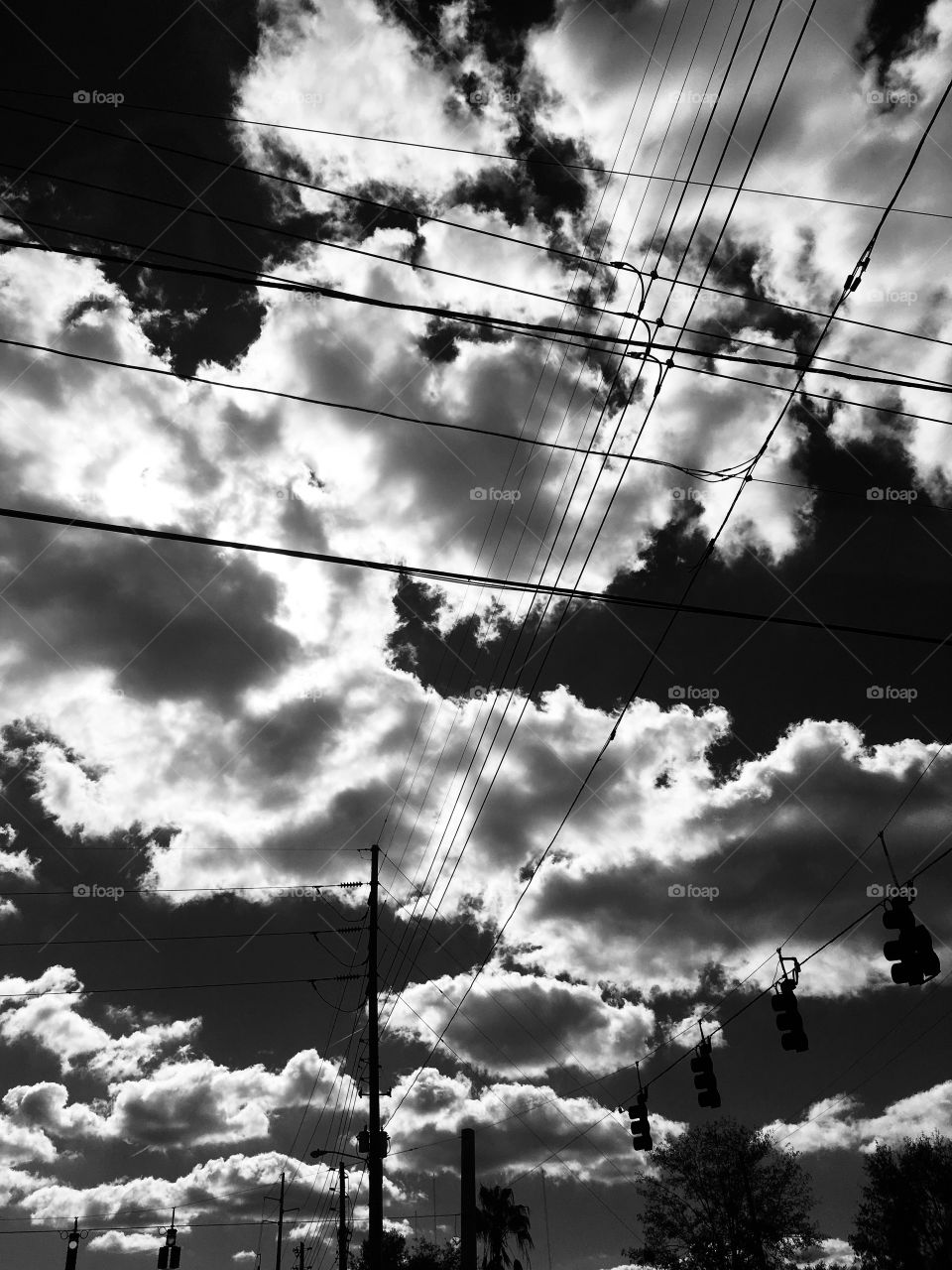 Clouds and power lines in noir et blanc in Florida