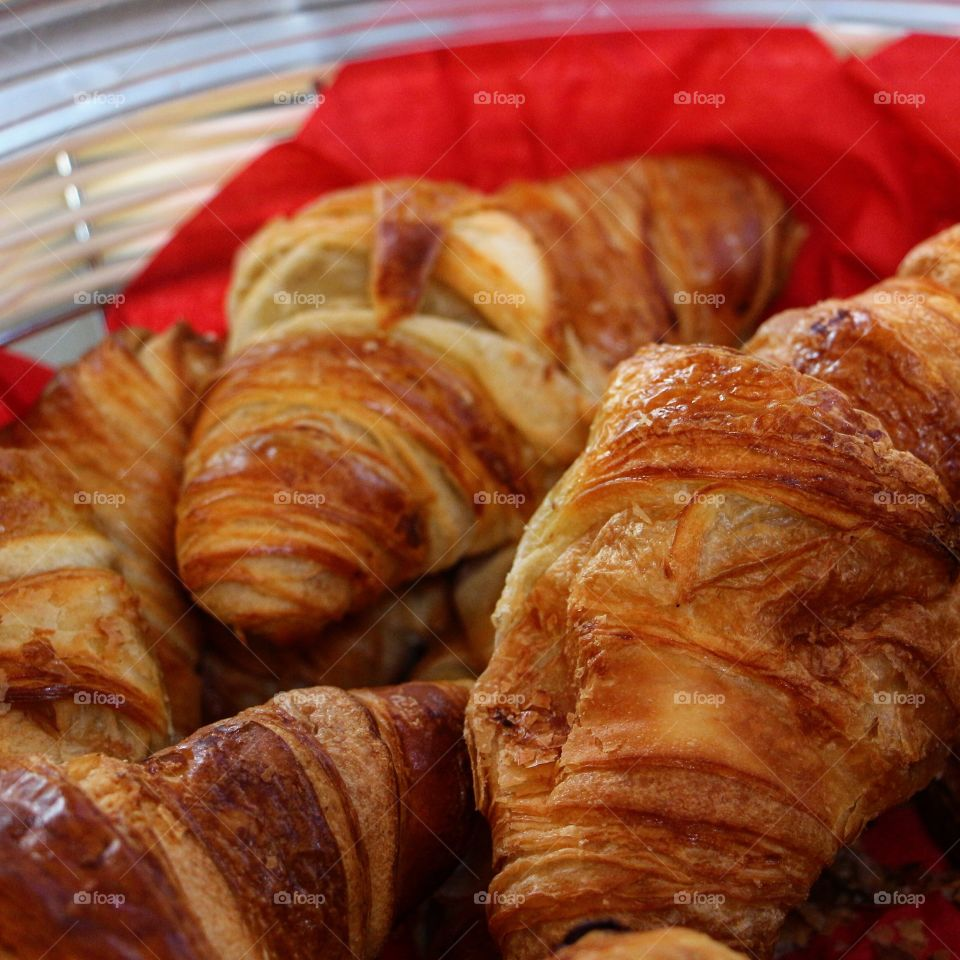 Croissants in a bakery