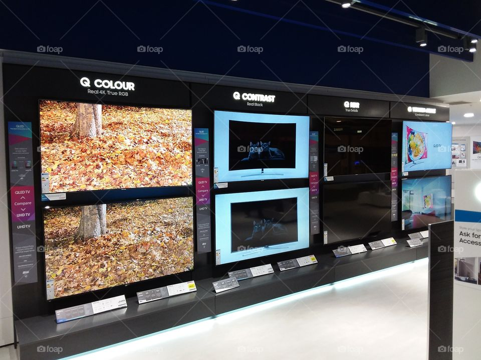 Samsung QLED comparison wall mounted televisions