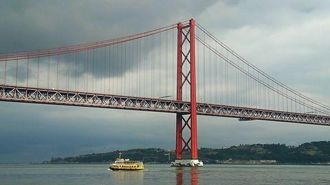 Scenic view of bridge over river in city