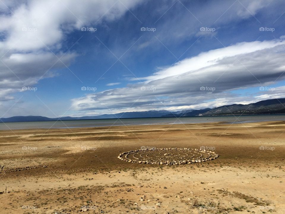 Stones arrange in circle on landscape