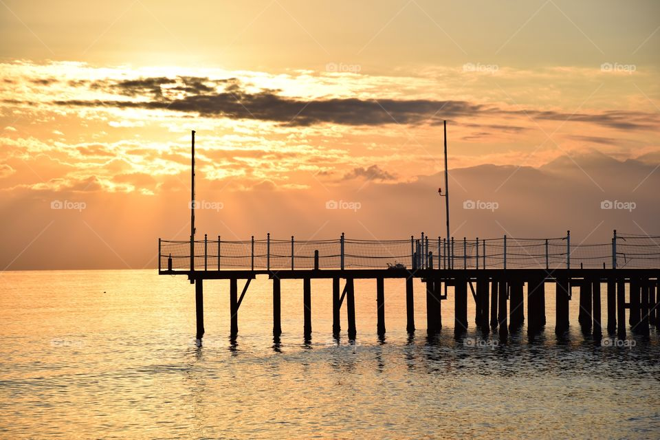 Pier at Antalya beach, Turkey