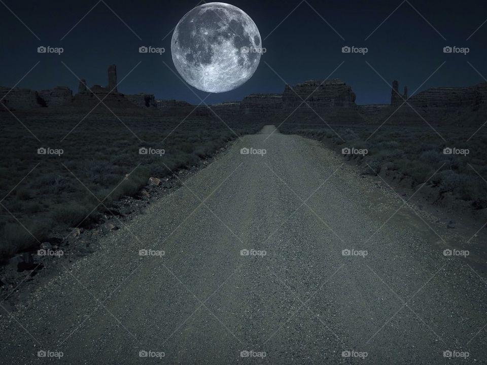 View of empty desert road