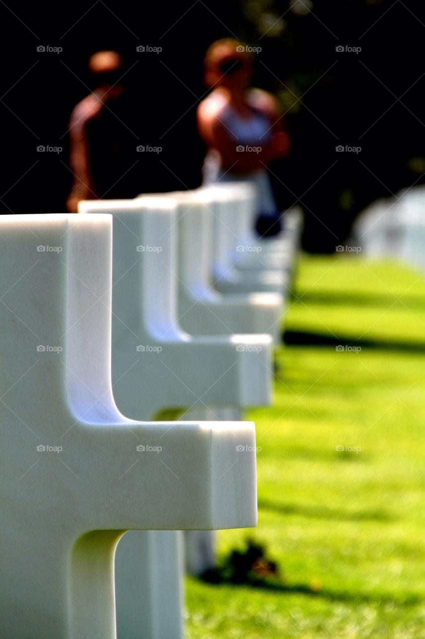 Crosses at collville sur mer USA war cemetery
